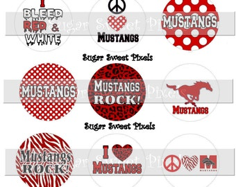 INSTANT DOWNLOAD Red Mustangs 1 inch circle School Mascot Bottle cap Images