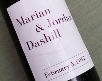 Mini Wine Labels with Single Monogram, Set of 20