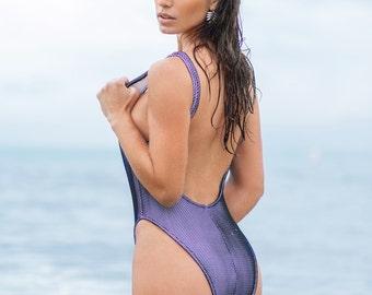 Brazilian cut Neoprene Netted Swimsuit with exposed zipper
