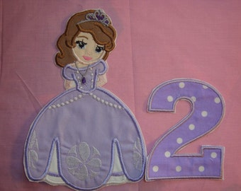 Sophie the first   Birthday  Iron on patch with number