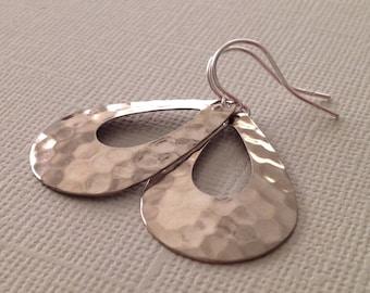 Teardrop Earrings in Silver- Hammered Teardrop Earrings in Silver