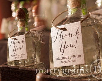 Thank You Wedding Favor Tags Script Custom w Names & Date - Personalized Candy, Treat, Koozie, Picture - Thank You Tags - (Set of 24) SS09