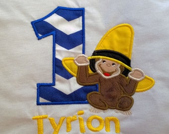 Curious George Birthday Shirt, Curious George, Personalized Curious George, Monogrammed Curious George