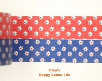 Japanese Washi Masking Tape Set - Little Flower with Red and Navy Blue - 2 rolls - 11 Yards (each roll)