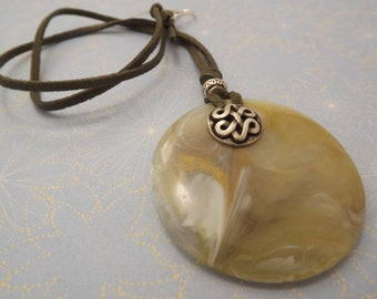 Bohemian Resin Cream Pendant Celtic Button and Leather Necklace