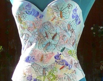hand dyed and painted Boned Corset  size  34a