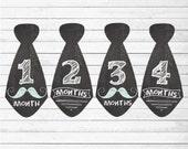 PRINTABLE Digital Download Baby Boy Chalkboard Mustache Tie Monthly Stickers Milestone Baby Stickers (Chalkboard Ties)