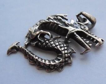 Vintage Sterling Silver Sea Serpent Pendant