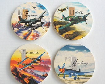 Airplane Coasters World War Ii Fighter Jets Set Of 4
