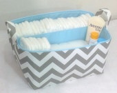 "XLA Diaper Caddy with 2 Sections 13""x11""x7"" Fabric Storage Organizer, Basket, Grey/White Chevron with Light Blue Lining"