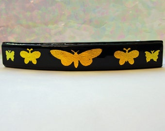 Large Dichroic Fused Glass Barrette Gold Etched Butterflies Dichroic Jewelry Hair Clip Girls Women Accessories Yellow Barrette