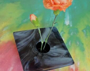 Fused Glass Ikebana Vase Periwinkle Blue Gray Home Decor Flowers Pin Frog Bowl Table Vase Rose Bud Vase Gifts Under 50 Dollars for Him