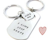 """SALE: """"I carry your heart"""", """"with me"""" his & hers dog tag and key chain SET of Two by Moonstone Creations"""