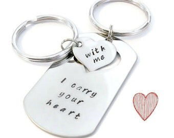 "SALE: ""I carry your heart"", ""with me"" his & hers dog tag and key chain SET of Two by Moonstone Creations"