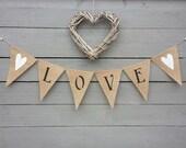 Love burlap banner bunting with white glittered hearts, Valentines banner, Wedding Garland