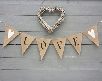 Love burlap banner bunting with white glittered hearts, Valentines banner, Wedding Garland