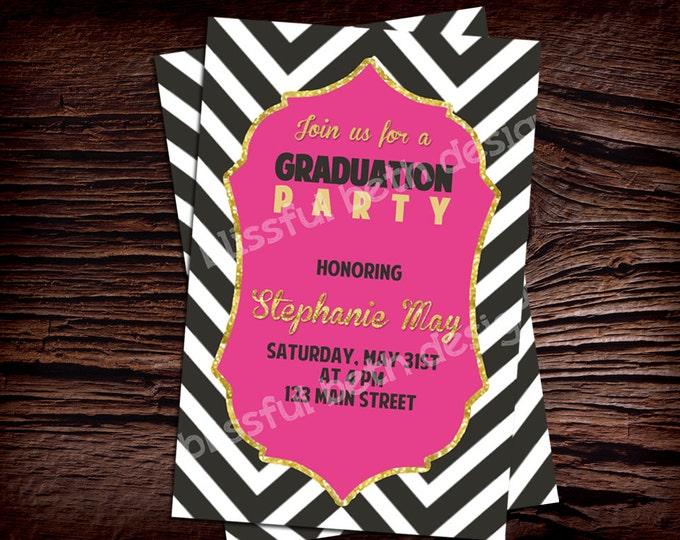 PERSONALIZED GRADUATION INVITATION Modern Graduation Invitation, Chevron Graduation Invitation, Chevron Graduation, Pink & Black Grad Invite