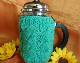 Hand knitted green cafetiere cover coffee pot cozy