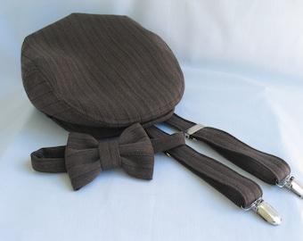 Brown Stripe Newsboy Flat Cap Bow Tie Suspenders Set, Toddler Ring Bearer,  Brown Herringbone, Toddlers Flat Cap,  Boy Bow Tie Set