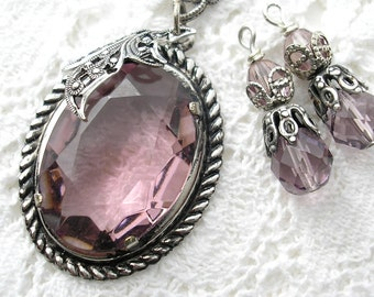 Light Amethyst Glass Jewel Pendant with Matching Bead Charms