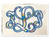 Vine Monogram Applique Machine Embroidery Font Alphabet - 3 Sizes