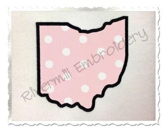 State of Ohio Applique Machine Embroidery Design - 4 Sizes