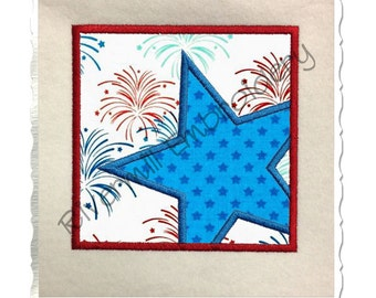 Star in a Square Frame Applique Machine Embroidery Design - 4 Sizes