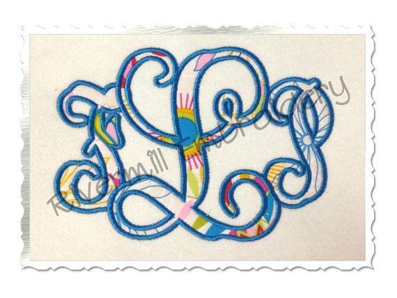 Vine Monogram Applique Machine Embroidery Font Alphabet 3