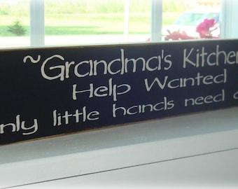 Grandma's Kitchen Help Wanted wood sign board