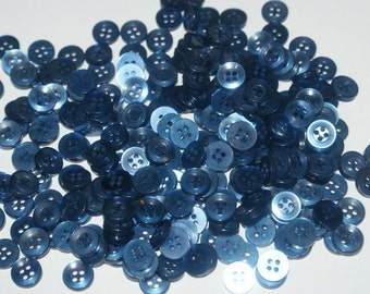 """Vintage Bulk 25 Matching Small Blue colored  4 Hole Buttons 7/16"""""""