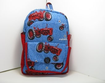Red Farmall Tractor Preschool Backpack
