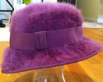 Vintage Ladies Hat Kangol Designs 50s Mauve Faux Angora