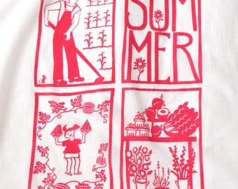 Flour Sack Dish Towel - Summer: Raspberry