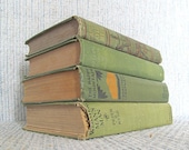 Antique Green Vintage Book Bundle Decorator Hardcover Books Home Décor Decorate with Designer Books Green Library Lot of 4 Books
