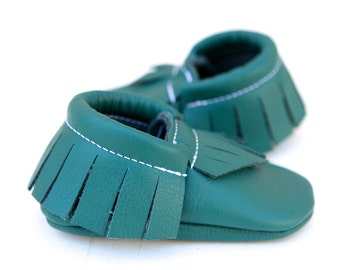 Dark Turquoise Leather Baby Moccasins