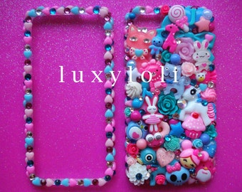 Custom Pink & AquaMint Style Decoden Phone Case