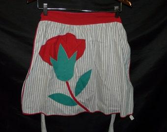 Vintage White Red Flower Applique Pocket Kitchen Apron Waist Tie Brown Stripe Folk Art Cook