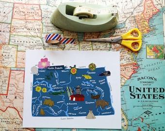 "North Dakota Illustrated 8""x10"" Map"