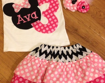 Minnie Mouse birthday outfit in pink polka dot and black and white chevron