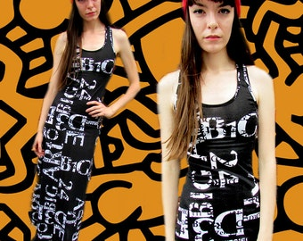 Black White Alphabet Number Sporty Grunge Maxi Bodycon Dress