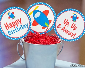 Airplane Birthday 4 Inch Party Circles, Instant Download, Printable, Digital