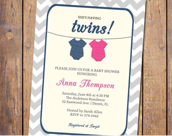 Twins Baby shower Invitation, gender neutral boy girl twins, hot pink and navy, digital, printable file (item24b)