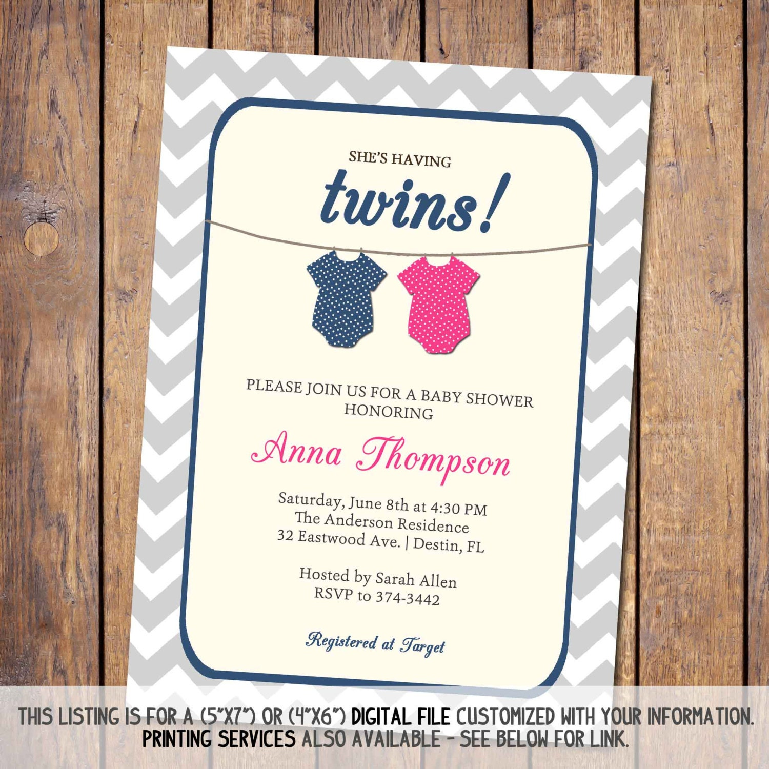 Twins Baby Shower Invitation Gender Neutral Boy Girl Twins