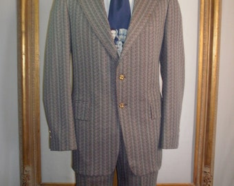 Vintage 1970's Sears Black/White & Red Striped Polyester Suit - Size 43