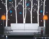 Birch Tree Wall decal nature forest baby boy girl room Nursery decal Birch Trees Wall Vinyl sticker Kids - 6 Birch Tree with Flying Birds