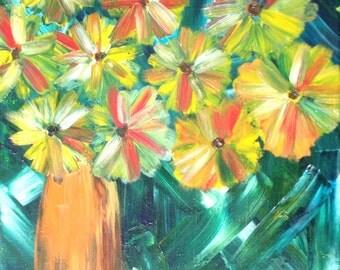 Kerri Ambrosino Original Abstract Folk Art Flowers Vase Landscape