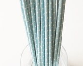 10 Paper Light Blue with White Polka Dot Drinking Straws - Free Printable Straw Flags