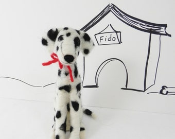 Needle felted Dalmatian pup, standing black and white dog, ready made soft sculpture, wool Dalmatian figure, dog, custom dog portrait