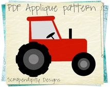 Farm Applique Pattern -  Birthday Tractor Applique Template / Tractor Quilt Pattern / Red Boys Tshirt / Toddler Applique Shirt / DIY AP257-D