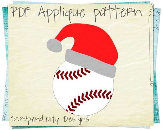 Santa Baseball Applique Template - Sports Quilt Applique Pattern / Santa Hat Wall Hanging / DIY Kids Sports Shirt / Christmas Quilt AP307-D